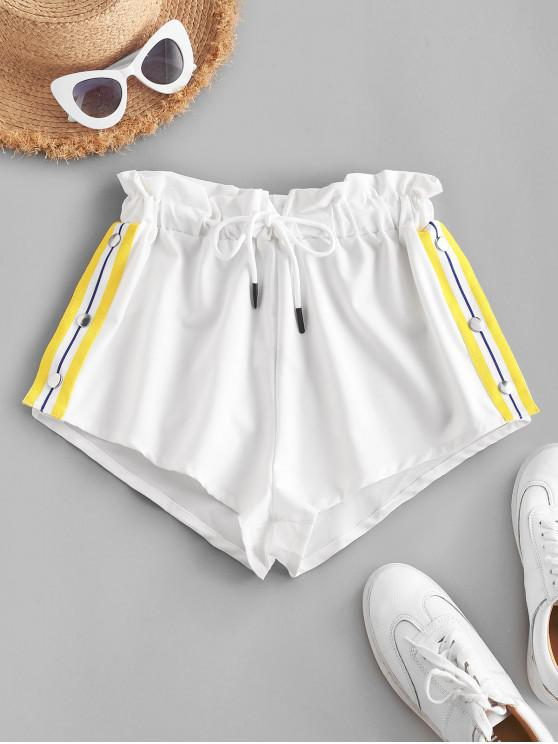 hot ZAFUL Striped Side Snap Button Paperbag Shorts - WHITE S