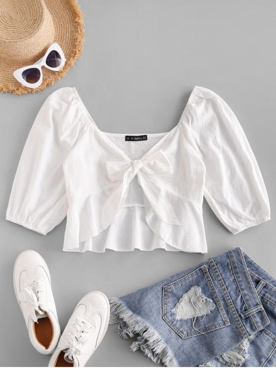 hot ZAFUL Plunging Tied Peplum Crop Blouse - WHITE S