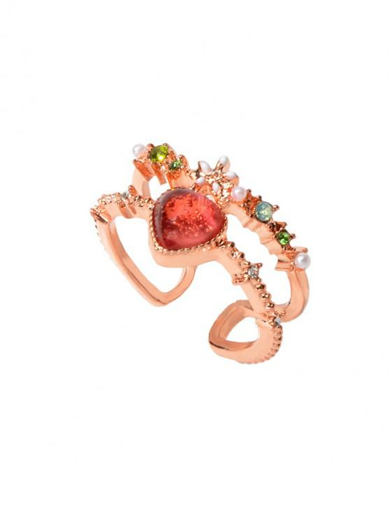 sale Hollow Rhinestone Heart Open Ring - ROSE GOLD
