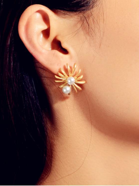 Pendientes de perla de Faux flor - Oro