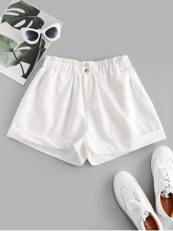 shop ZAFUL Pockets Two Buttoned Cuffed Hem Paperbag Shorts - WHITE XL