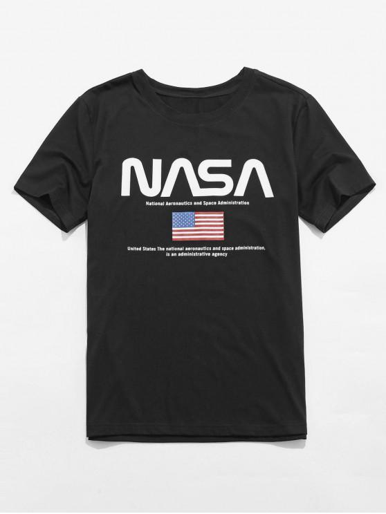 latest ZAFUL American Flag Graphic Short Sleeve T-shirt - BLACK 2XL