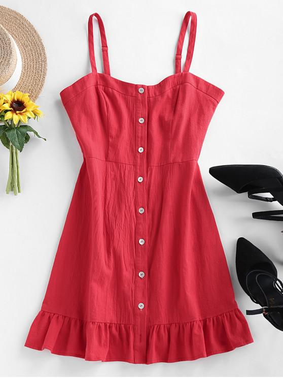 shop ZAFUL Buttons Ruffle Cami Dress - BLUSH RED L