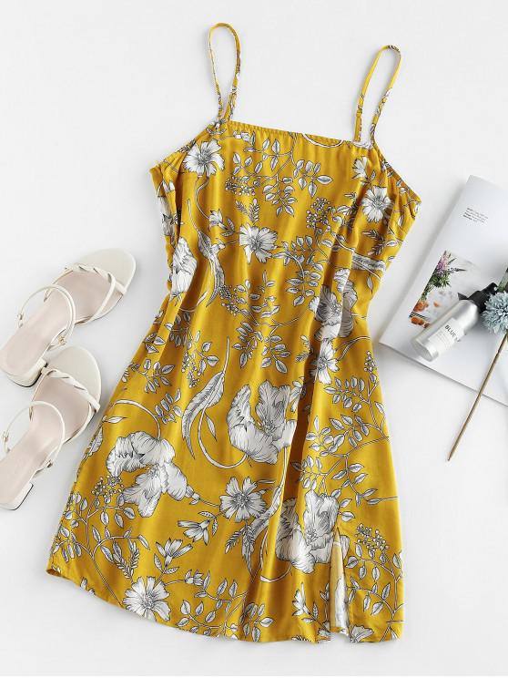 trendy ZAFUL Floral Print Slit Mini Cami Dress - SUN YELLOW S
