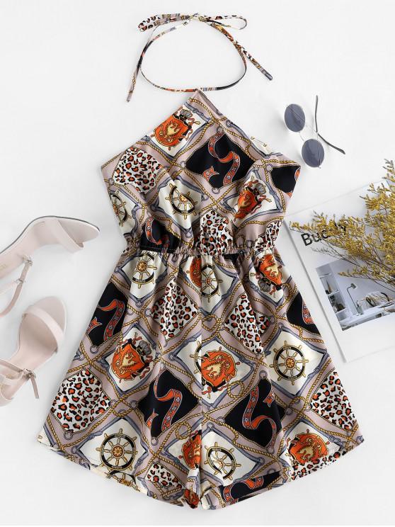 outfit ZAFUL Open Back Scarf Print Halter Romper - MULTI S