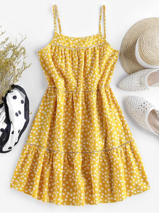 unique ZAFUL Flounce Ditsy Print Mini Dress - BEE YELLOW S