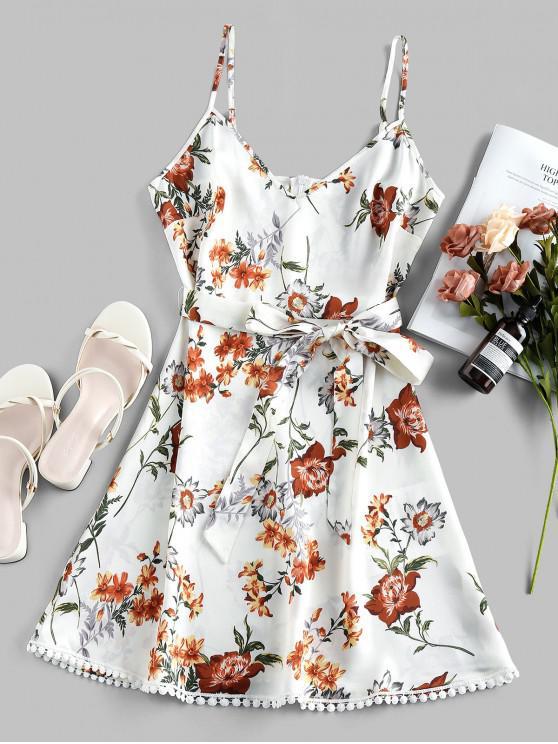 unique ZAFUL Pompom Floral Print A Line Dress - WHITE L
