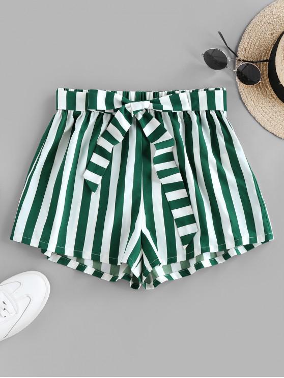 outfit ZAFUL Stripe Belted Shorts - SHAMROCK GREEN S