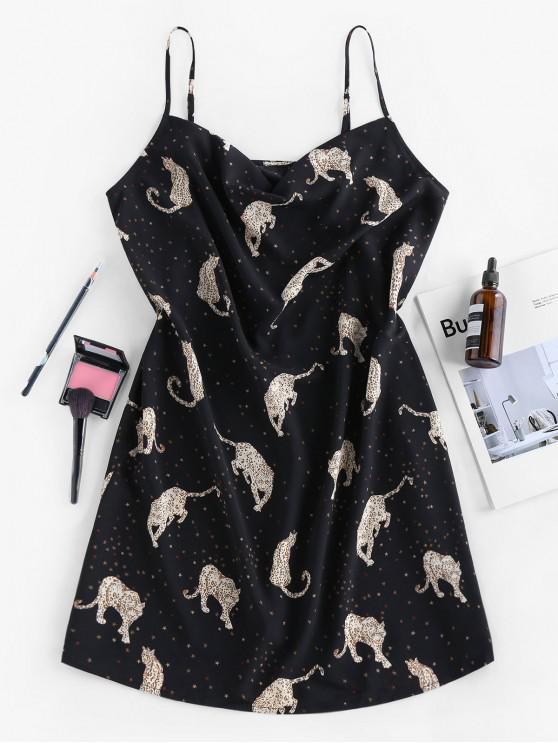 Vestido de Tirantes Finos con Estampado de Leopardo ZAFUL - Negro S