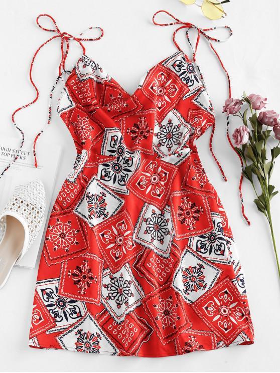 trendy ZAFUL Scarf Print Tie Shoulder Mini Dress - RED S