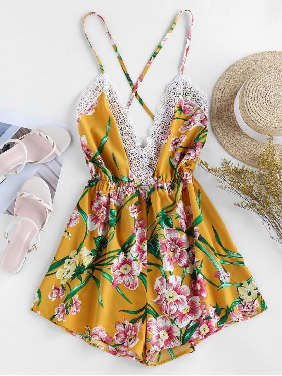outfits ZAFUL Floral Print Crisscross Romper - BRIGHT YELLOW S