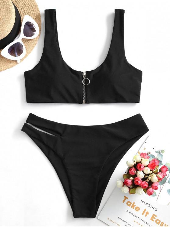 outfit ZAFUL Zip Up Cutout Bikini Swimsuit - BLACK S