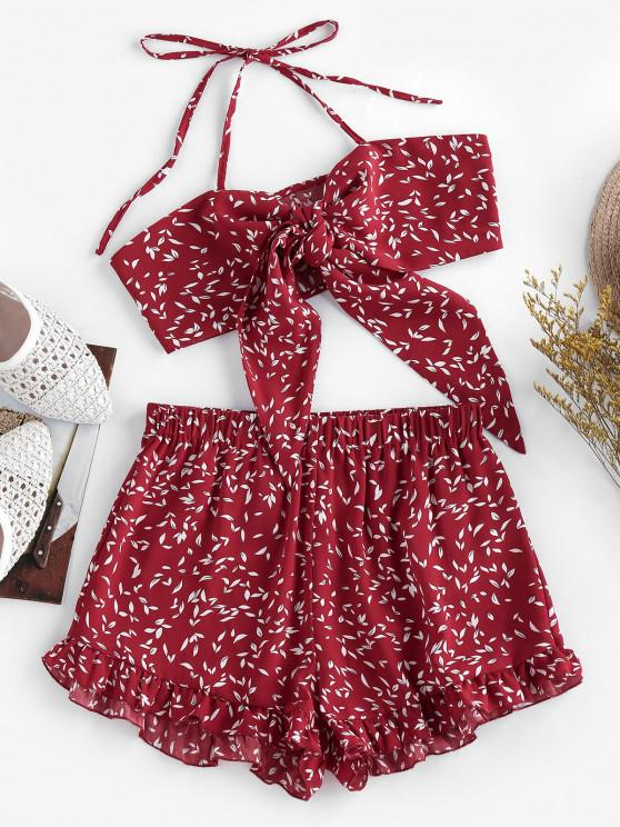 women's ZAFUL Halter Tied Floral Print Co Ord Set - RED WINE S