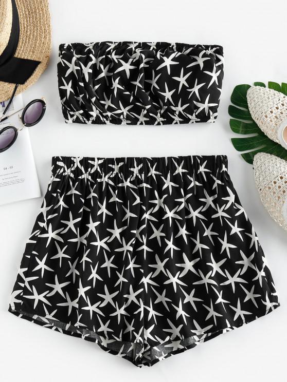 trendy ZAFUL Starfish Print Strapless Co Ord Set - BLACK L