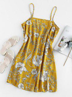 ZAFUL Mini Robe Fendue Fleurie Imprimée à Bretelle - Jaune Soleil S