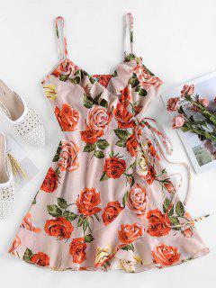 ZAFUL Flounce Floral Print Mini Dress - Sakura Pink S