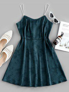 ZAFUL Party Faux Pearl Cami Dress - Sea Turtle Green L
