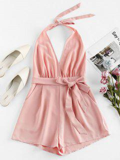 ZAFUL Halter Backless Surplice Romper - Rose L
