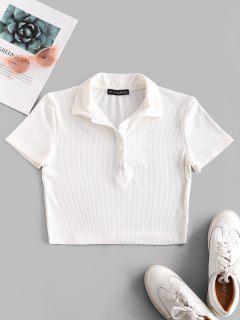 ZAFUL T-shirt Court Côtelé Demi-Boutonné En Couleur Unie - Blanc Xl