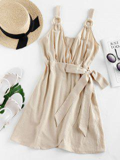ZAFUL Bowknot High Waist Wrap Dress - Light Khaki M