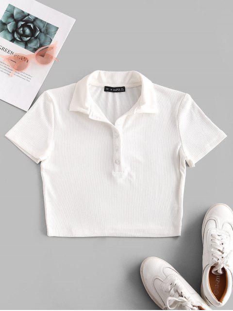 ZAFUL Camiseta Corta Acanalada con Media Botón - Blanco M Mobile