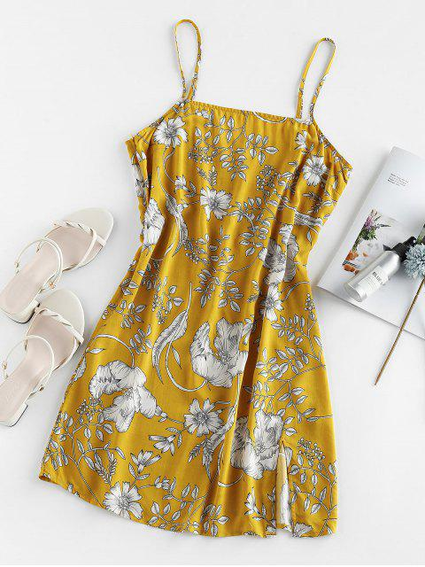 trendy ZAFUL Floral Print Slit Mini Cami Dress - SUN YELLOW S Mobile