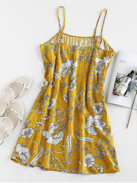 trendy ZAFUL Floral Print Slit Mini Cami Dress - SUN YELLOW M Mobile