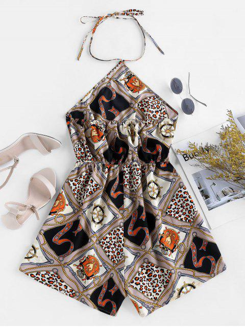 outfit ZAFUL Open Back Scarf Print Halter Romper - MULTI S Mobile