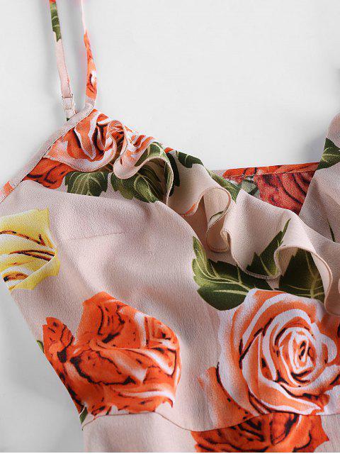 outfit ZAFUL Flounce Floral Print Mini Dress - SAKURA PINK S Mobile