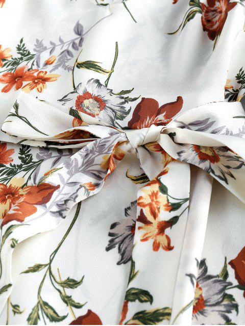 ZAFUL Pompon Blumendruck A Linie Kleid - Weiß XL Mobile