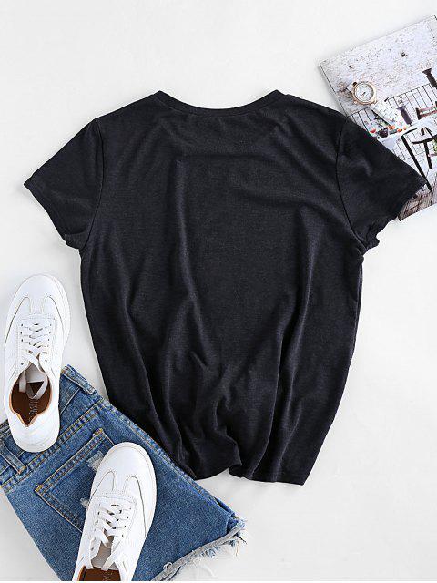 ZAFUL Cartoon Faulheit T-Shirt - Dunkles Schiefergrau S Mobile