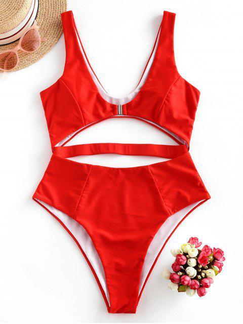 fancy ZAFUL Front Closure Cutout One-piece Swimsuit - BRIGHT ORANGE XL Mobile