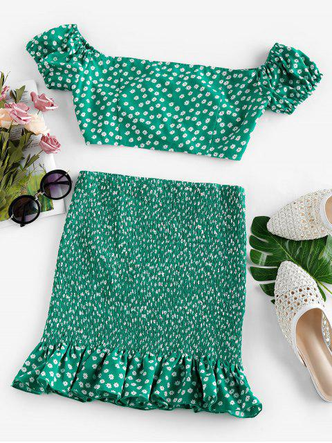latest ZAFUL Ditsy Print Flounce Smocked Two Piece Dress - CLOVER GREEN S Mobile