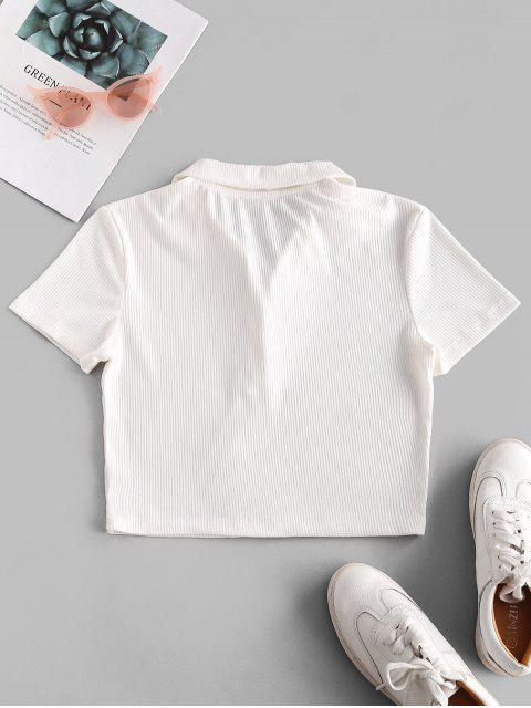 fancy ZAFUL Half Buttoned Solid Ribbed Cropped Tee - WHITE L Mobile