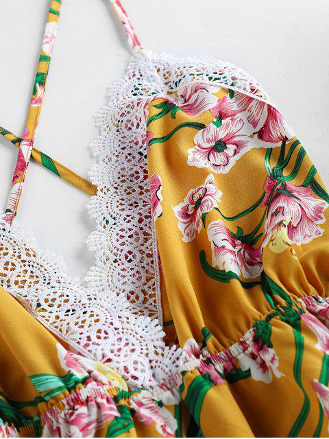 women ZAFUL Floral Print Crisscross Romper - BRIGHT YELLOW L Mobile
