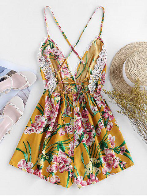 ZAFUL Mono Femenino Cruzado con Estampado Floral - Amarillo Brillante S Mobile