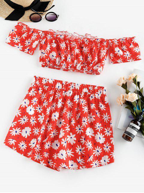 ZAFUL Floral Print Off The Shoulder Co Ord Set - أحمر M Mobile