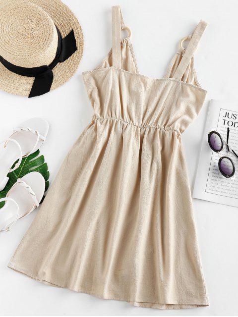 ZAFUL Bowknot High Waist Wrap Dress - ضوء الكاكي XL Mobile