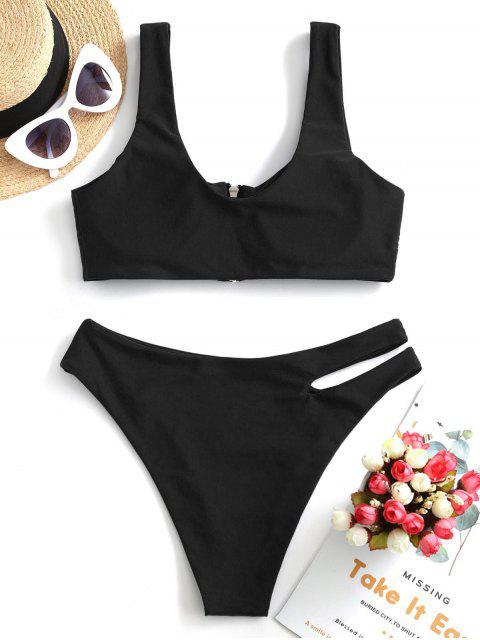 ZAFUL Bikini Recortado con Cremallera - Negro S Mobile