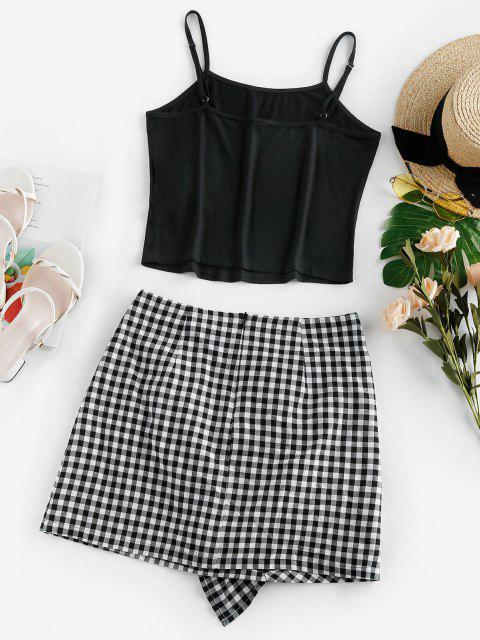 fancy ZAFUL Ruffle Checked Mini Two Piece Dress - BLACK M Mobile