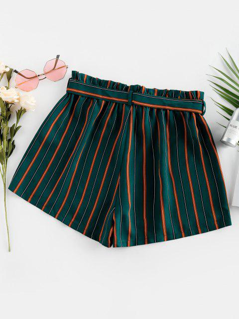 unique ZAFUL Belted Stripe Paperbag Shorts - DARK GREEN S Mobile