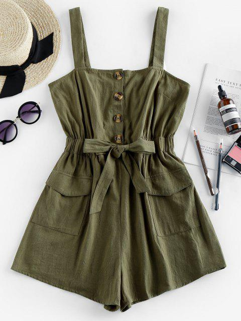outfits ZAFUL Pockets Drawstring Cargo Romper - CAMOUFLAGE GREEN S Mobile