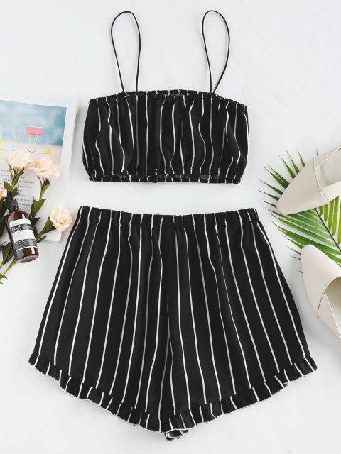 shop ZAFUL Striped Flounce Co Ord Set - BLACK M Mobile