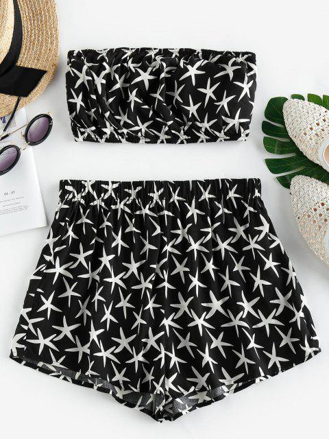 trendy ZAFUL Starfish Print Strapless Co Ord Set - BLACK L Mobile