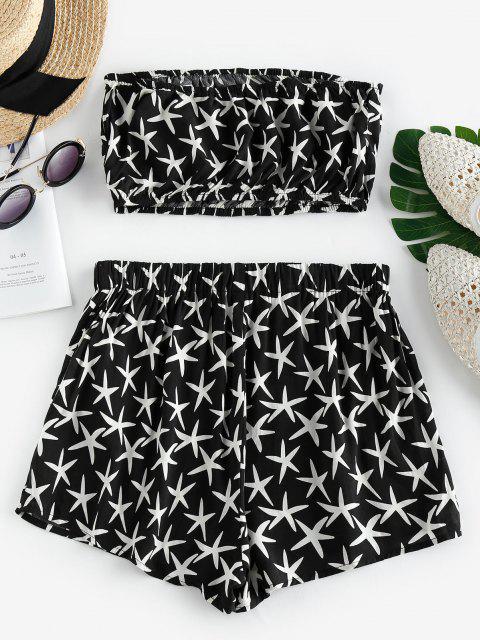 ZAFUL Starfish Print Strapless Co Ord Set - أسود M Mobile