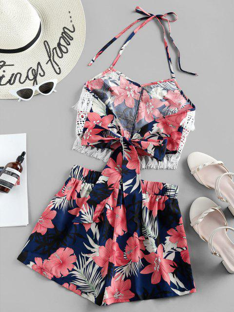 outfits ZAFUL Halter Crochet Floral Print Two Piece Set - NAVY BLUE S Mobile