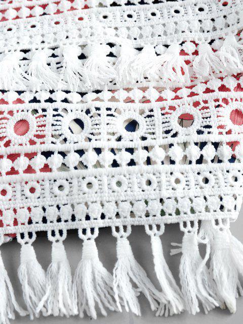 fashion ZAFUL Halter Crochet Floral Print Two Piece Set - NAVY BLUE M Mobile