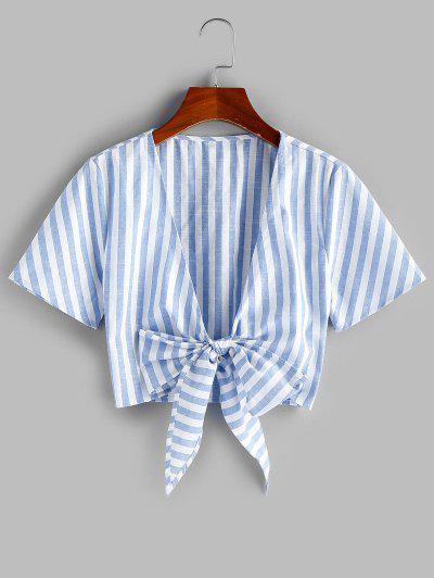 ZAFUL Tie Knot Stripe Cropped Blouse - Multi-a S