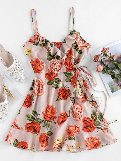 ZAFUL Mini Vestido Con Volantes Con Estampado Floral - Rosa Sakura  S