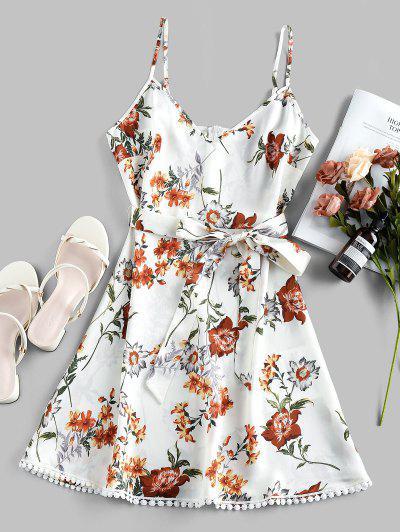 ZAFUL Pompom Floral Print A Line Dress - White L